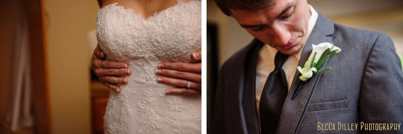 details of bride holding her waist in dress and groom looking at boutonniere