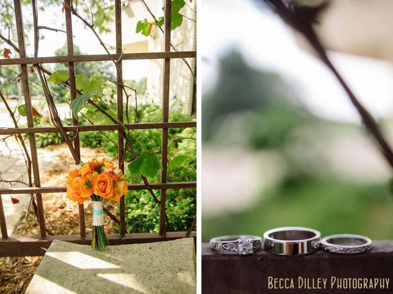 orange wedding flowers and wedding rings