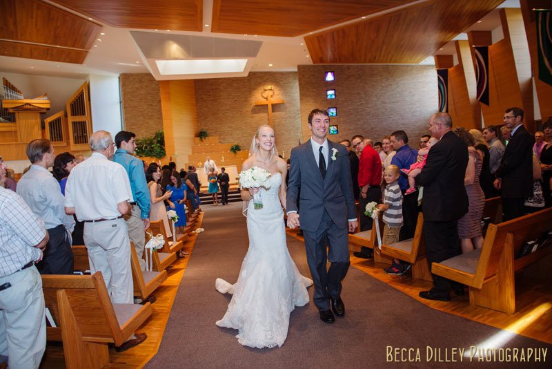 bride and groom exit Plymouth congregational church