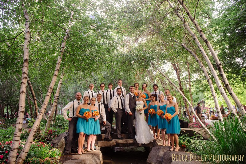 large wedding party at Mears park
