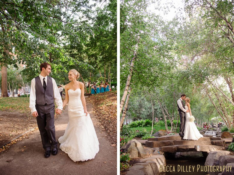 bride and groom at mears park