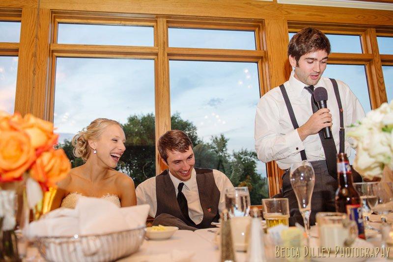 best man gives speech at Mendakota Country Club