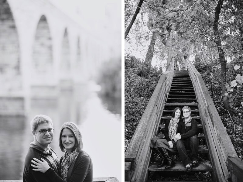 black and white photos of couple with leading lines