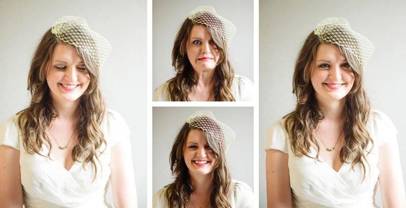 portraits of bride making faces