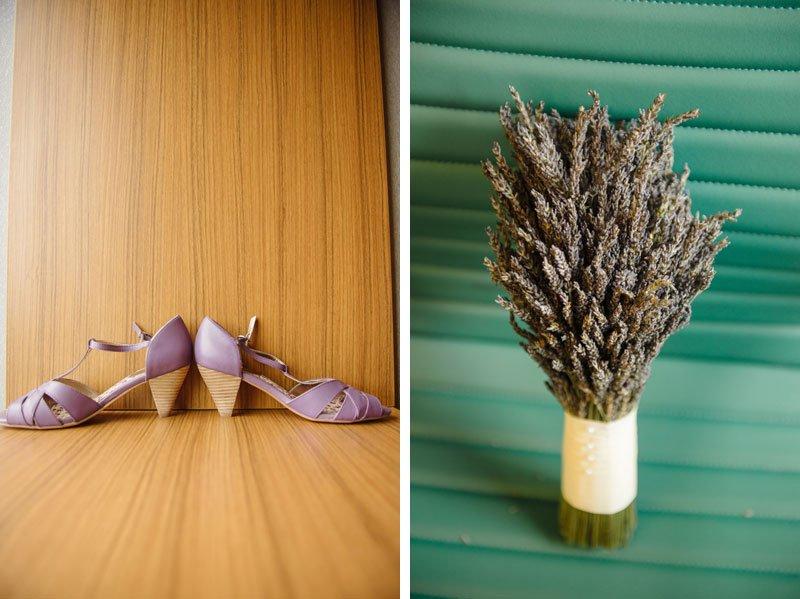 bouquet of lavender and lavender shoes