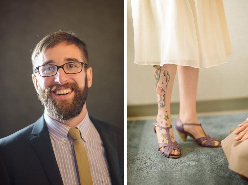 bride with tattoos on leg and lavender shoes