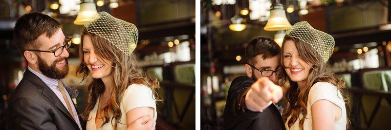 bride and groom having fun at loring pasta bar before wedding