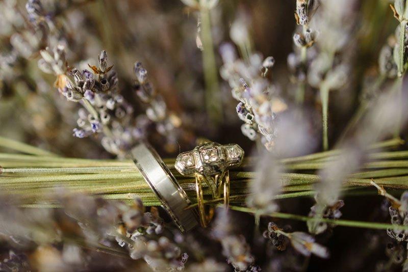 wewednig rings in lavender flowers