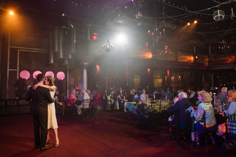 bride and groom first dance at varsity theater