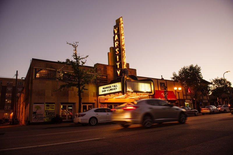 exterior of varsity theater at night