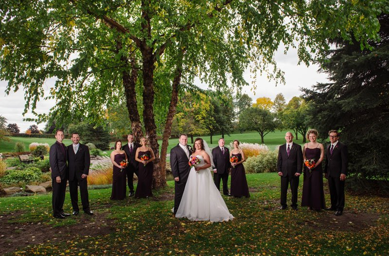 flash composite of wedding party outside at southview country club