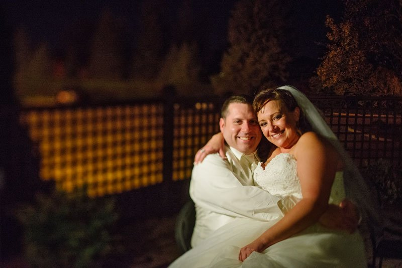 bride and groom in evening night at southview country club