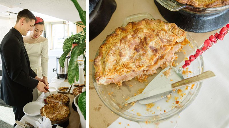 bride and groom slice homemade apple pie