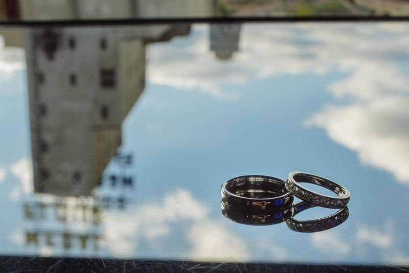 wedding rings with reflection of gold medal flour
