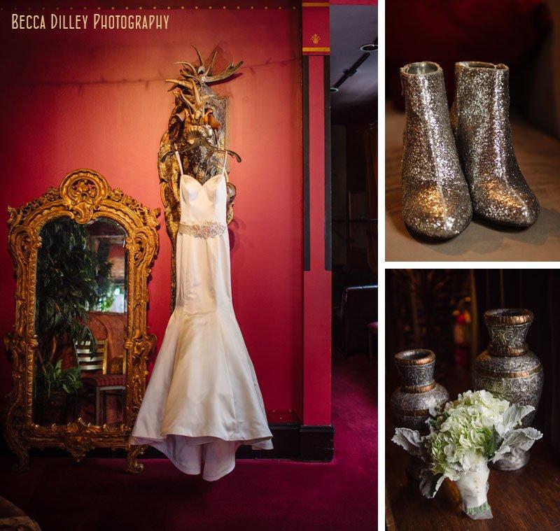 winter wedding boots and dress at loring pasta bar dinkytown