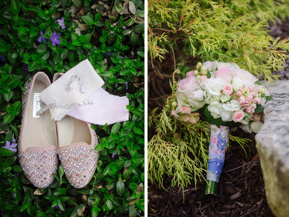 blush pink flowers and sparkled flat shoes details for St Maria Goretti church wedding madison wi