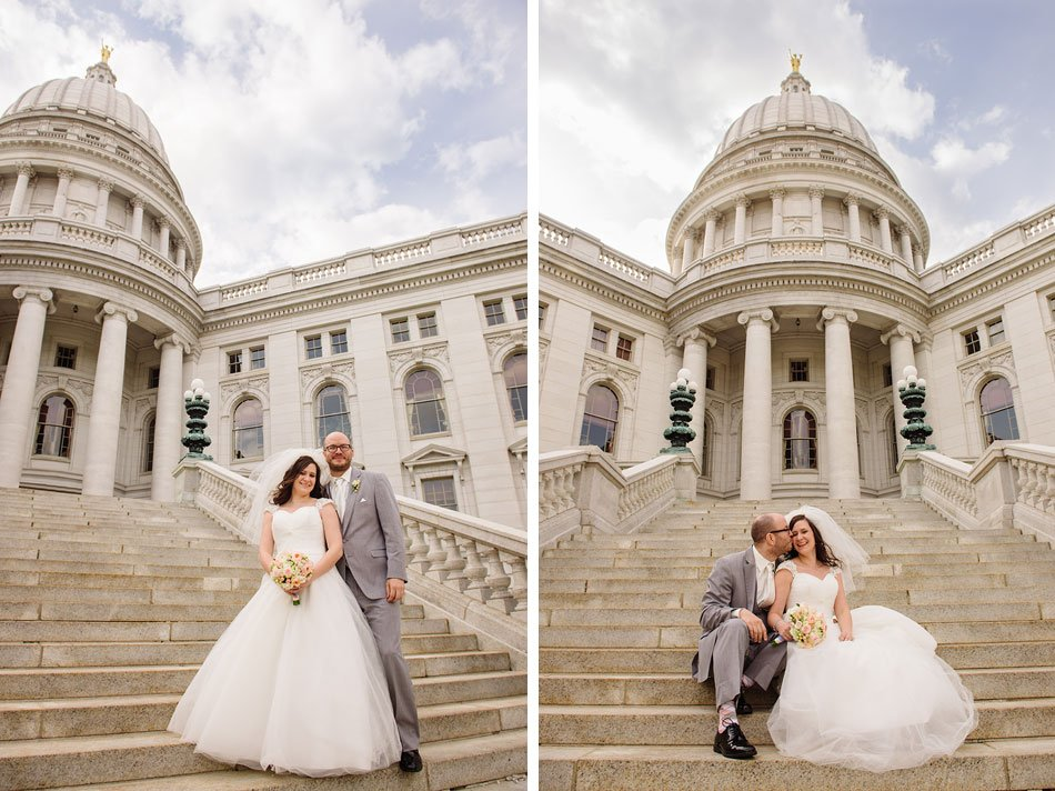bride and groom on steps of Madison capitol with dome in background