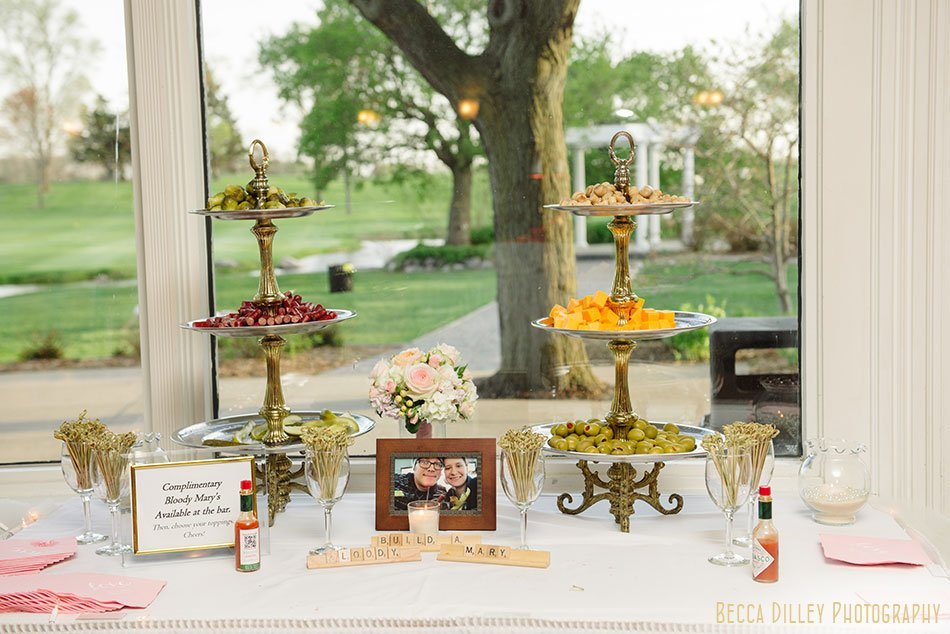 make your own bloody mary bar at Windsor Country Club wedding Madison Wi