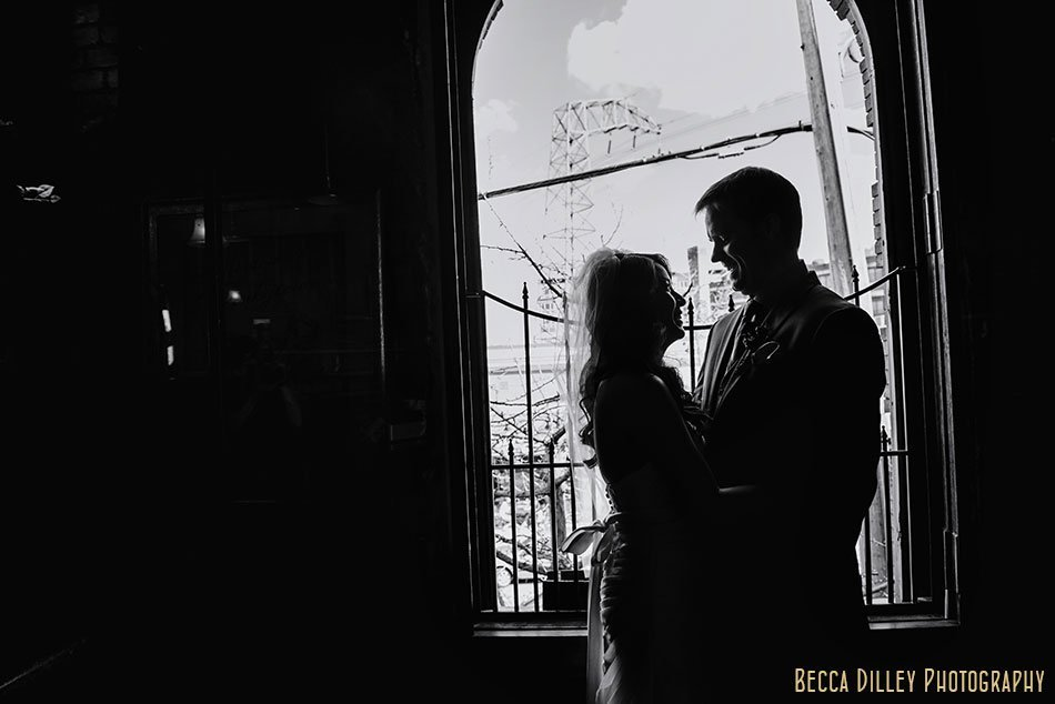 silhouette of bride and groom at Loring Pasta Bar Minneapolis wedding