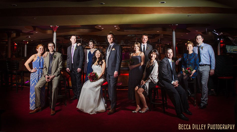 flash composite of wedding party at Varsity Theater wedding Minneapolis