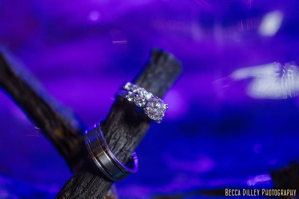 wedding rings with blue Varsity Theater wedding Minneapolis