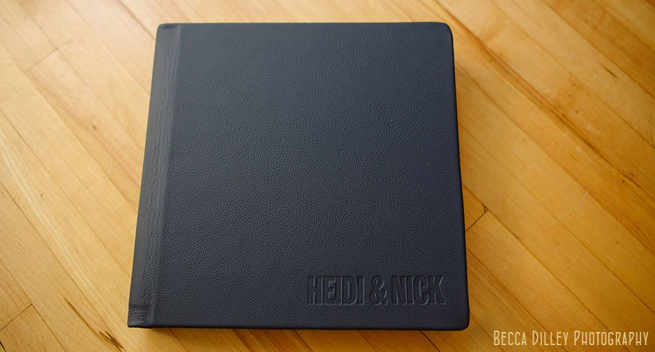 embossed cover Navy Leather flush mount wedding album