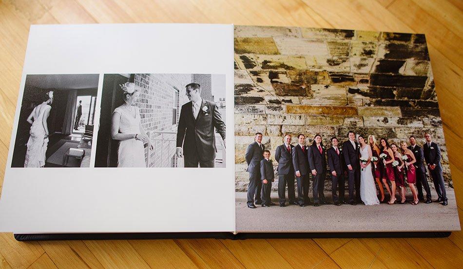 Navy Leather flush mount wedding album interior