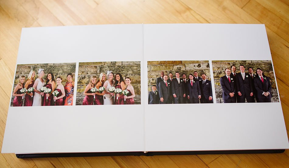 Navy Leather flush mount wedding album wedding party MInneapolis