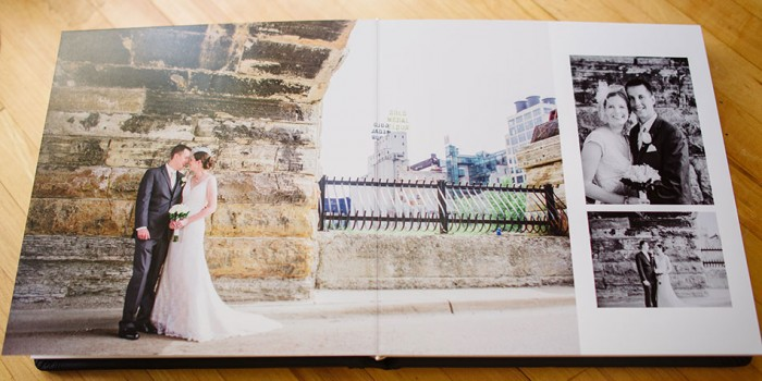 Behind the scenes of a wedding album: Modern Embossed navy leather flush mount album