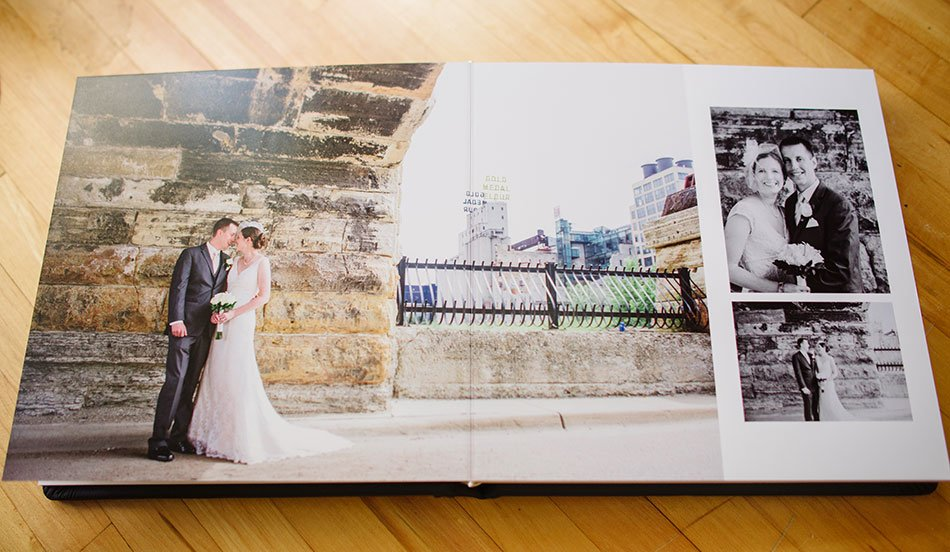 Navy Leather flush mount wedding album stone arch bridge Minneapolis