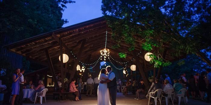 Spring green wedding at Hilltop at night
