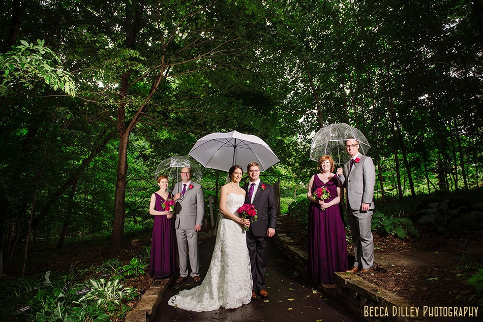 flash composite rainy wedding at minnesota arboretum