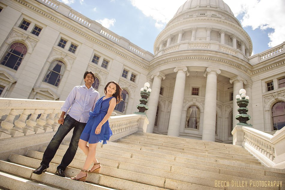 Couple on the steps of the madison capitol