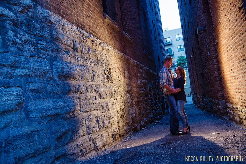 couple with blue light in alley lowertown