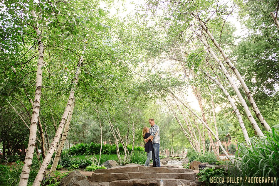 couple at mears park for engagement session