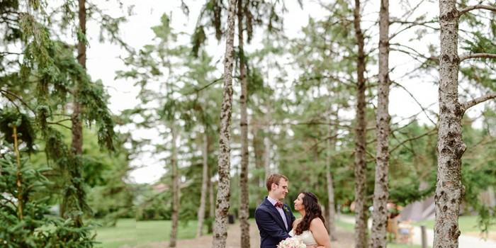 bride and groom among birch trees at Minneapolis Sculpture garden
