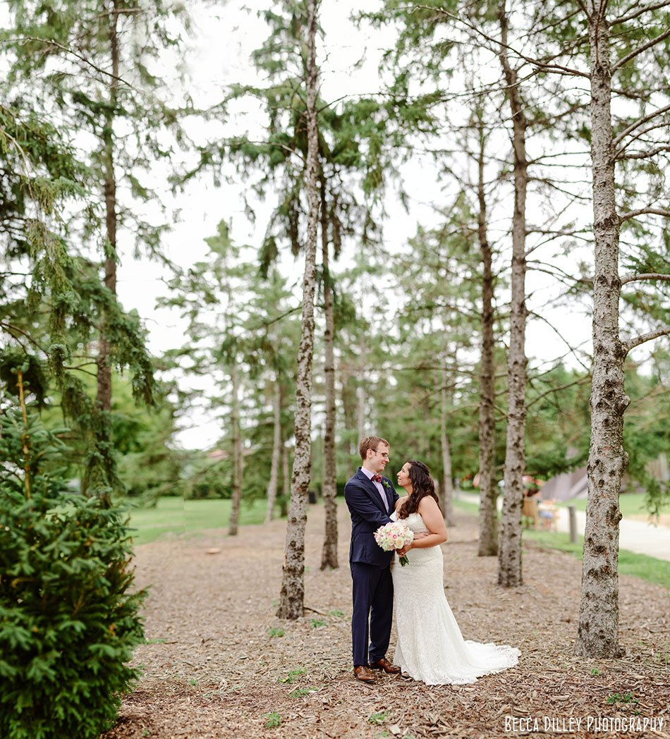 bride and groom among birch trees at Minneapolis Sculpture garden