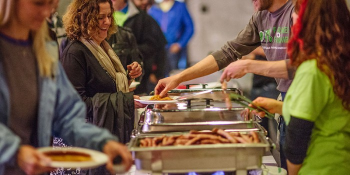 chef Paul Berglund serves pancakes at Northern Spark 2014