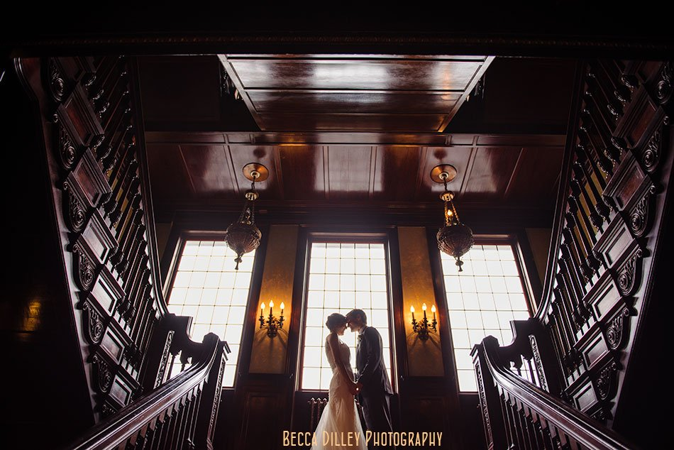 bride and groom see each other for first time at semple mansion