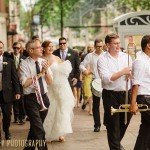 Wedding march to mama dig downs brass band second line in Madison