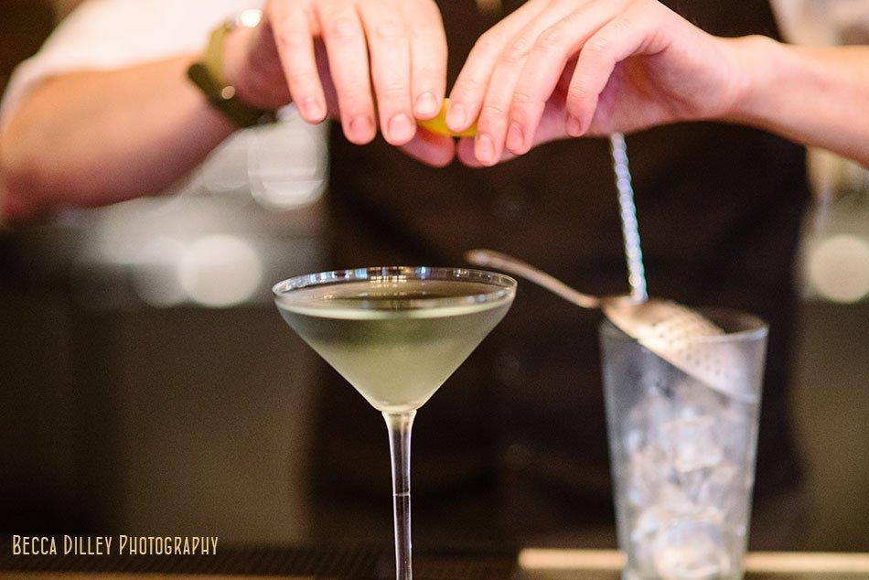 making a martini at la belle vie