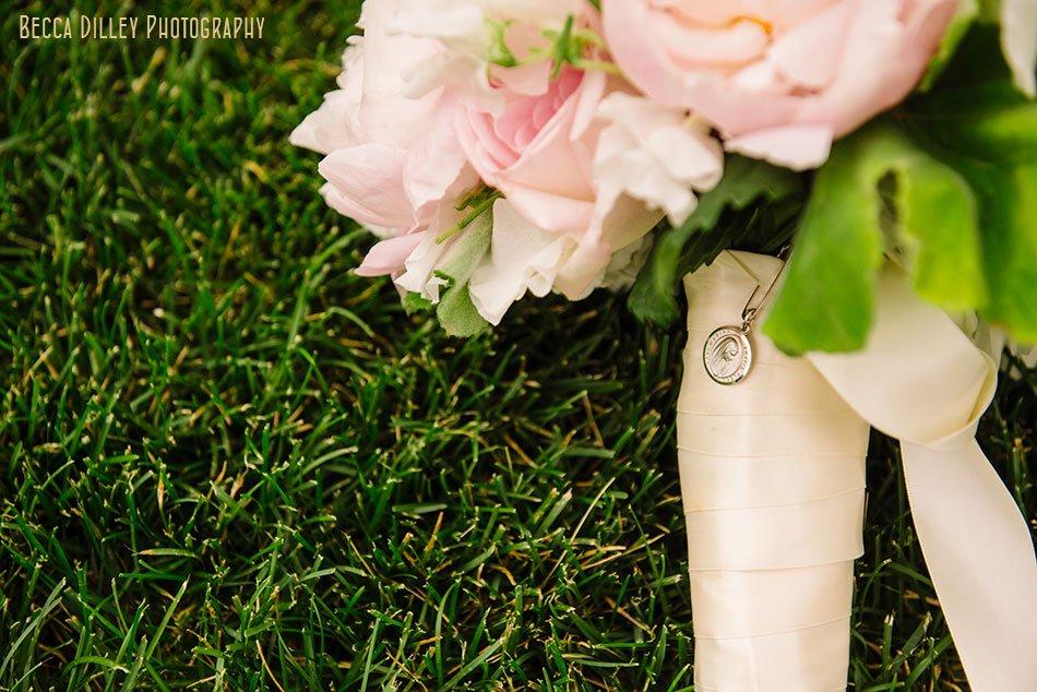 wedding flowers with locket for basillica wedding minneapolis