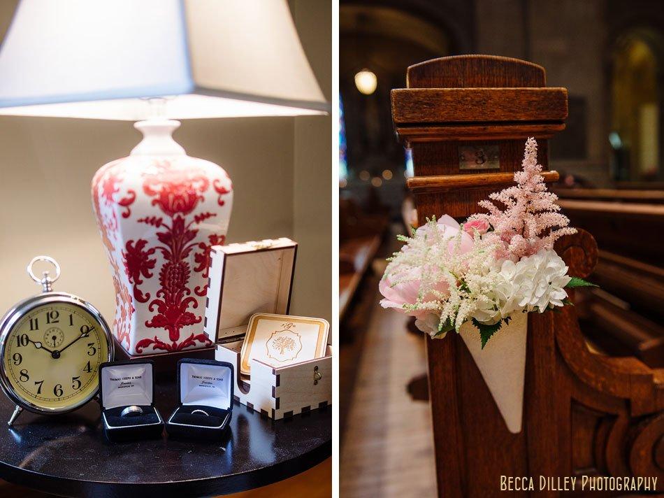 blush flowers for basillica wedding
