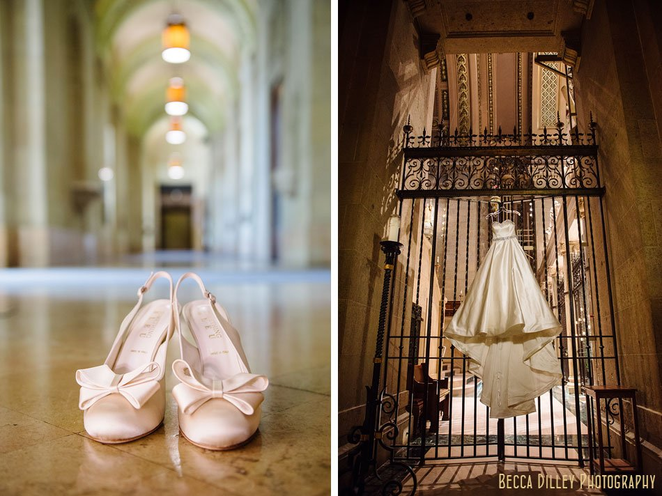 wedding dress and shoes at the basillica of st mary in Minneapolis