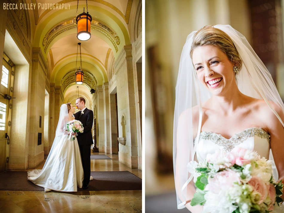 bride and groom in foyer of this area basillica wedding minneapolis