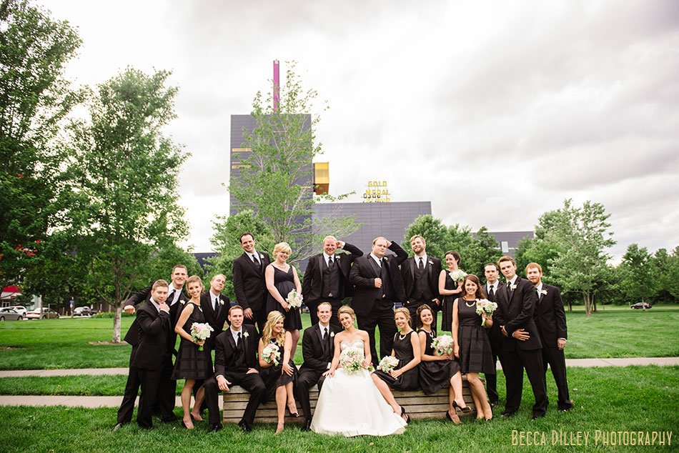 large wedding party at gold medal park minneapolis