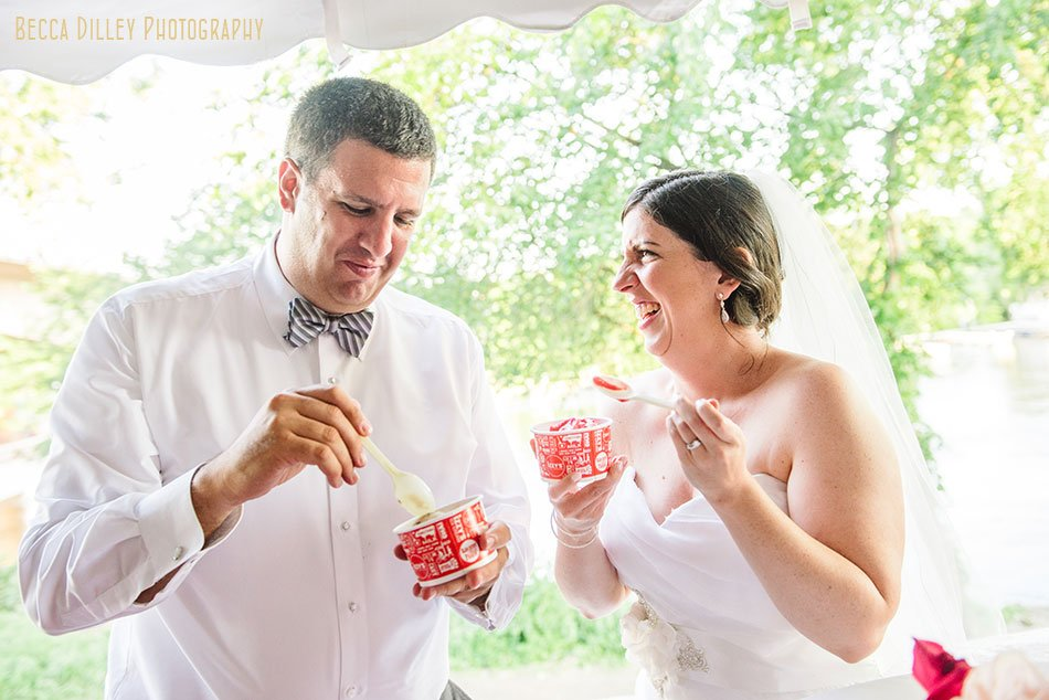 Bride and groom scoop ice cream instead of cake