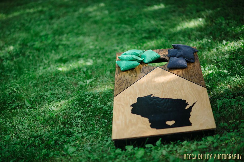 wisconsin themed corn holl bean bag toss hilltop in Spring Green WI