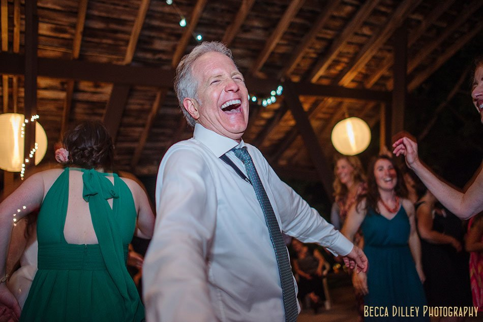 father of bride dances at hilltop in Spring Green WI