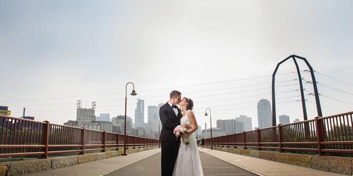 Stone Arch Bridge wedding couple flash composite